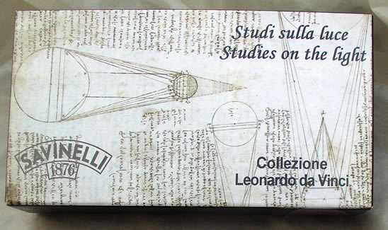 Box showing Leonardo Da Vinci Sketch that inspired this pipe design