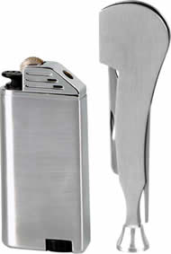 Flint Satin finish Pipe Lighter and Stainless Steel Pipe Knife Boxed Set