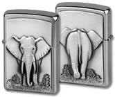 Zippo on Stage lighter; Elephant in mirror box