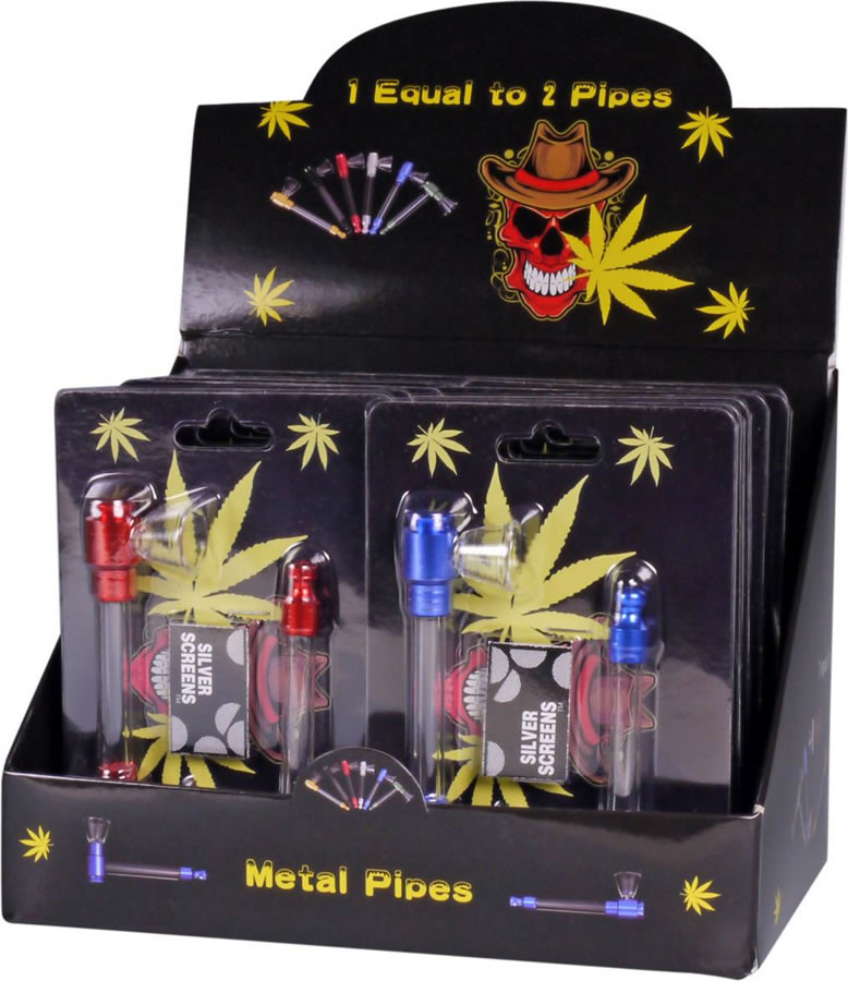 Set with 2 Metal/Glass pipes and screens, assorted colours