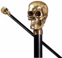 Resin skull cane, coloured gold for an eye-catching appearance.