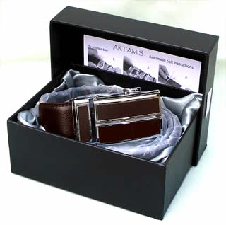 Brown leather belt with ratchet fitting - Boxed