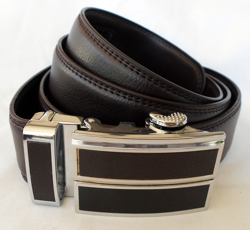 Brown leather belt with ratchet fitting
