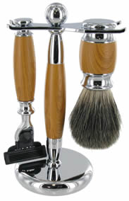 Shaving brush set with razor; Light wood handles, chrome stand