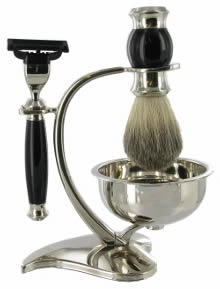 Black Shaving set: Mach3 razor; Badger Brush, chrome stand, bowl