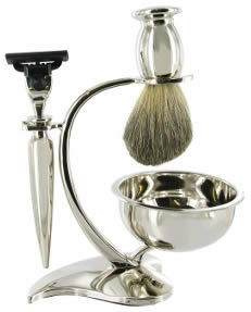 Chrome Shaving set: Mach3 razor; Badger Brush, chrome stand, bowl
