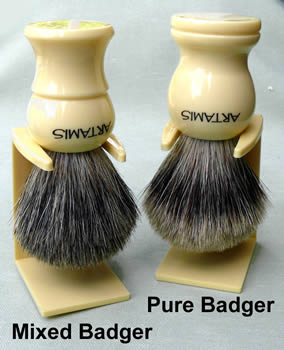 Badger Shaving Brush, faux ivory handle