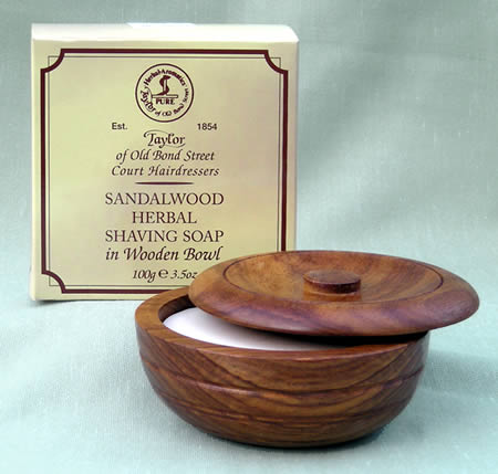 Wood bowl with Sandalwood soap Taylor of Bond Street 100g shaving soap