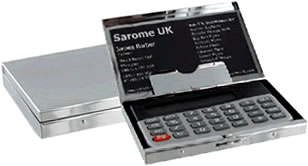 Chrome plated Card holder and Calculator
