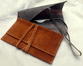 Roll-up suede leather Roll Your Own pouch