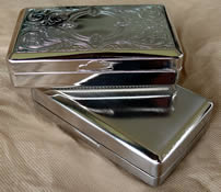 Sturdy tin for RYO tobacco; 10cm x 6cm - Nickel Venetian design or Brushed Chrome