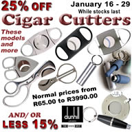 From January 16-29, 2020 we offer: 15% off Dunhill Cigar Cutter and Punch, 25% off all other Cigar Cutters, Cigar Scissors and Punches