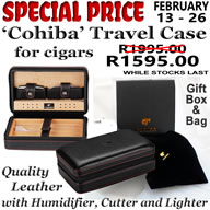 "From February 13-26, 2020We offer this ""Cohiba"" branded travel case for onlyR1595.00"