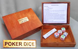 White Poker Dice in wood box. Poker and Lie Dice Rules