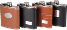Synthetic leather covered Hip Flasks with engraving plate