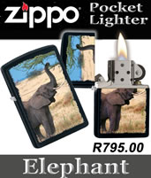 Zippo Elephant Windproof Pocket Lighter - Black Matte