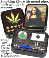 Smoking Kits with metal pipe, herb grinder & screens
