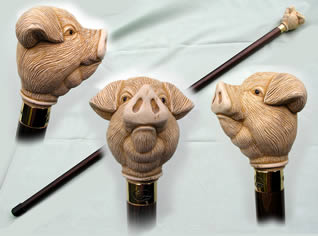 Mock Ivory Pig Knob Walking stick - Gilt collar