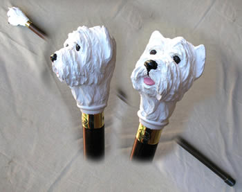 Walking Stick with White Highland Terrier Head