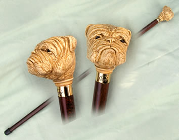 Mock Ivory Bulldog Head Walking Stick